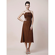 A-line Plus Sizes Mother of the Bride Dress - Brown Tea-length Sleeveless Chiffon
