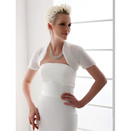 결혼식 랩 볼레로 짧은 소매 오르간자 화이트 웨딩 티셔츠 오픈 프론트