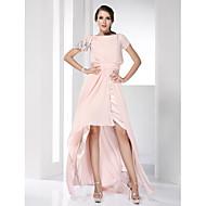 Prom / Formal Evening Dress - Pearl Pink Plus Sizes / Petite Sheath/Column Bateau Floor-length / Asymmetrical Chiffon