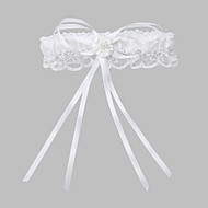 Garter Lace / Polyester Imitation Pearl / Ribbon White