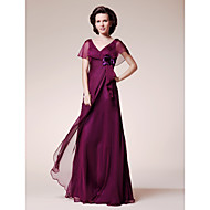 A-line Plus Sizes Mother of the Bride Dress - Grape Floor-length Short Sleeve Chiffon