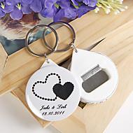 personlig flasköppnare / nyckelring - dubbla hjärtan (sats om 12)