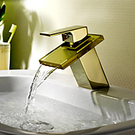 Country Centerset Waterfall with  Ceramic Valve Single Handle One Hole for  Ti-PVD , Bathroom Sink Faucet