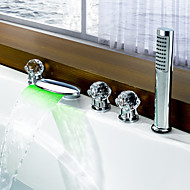 Contemporary Roman Tub LED Waterfall Widespread with  Ceramic Valve Two Handles Five Holes for  Chrome , Bathtub Faucet