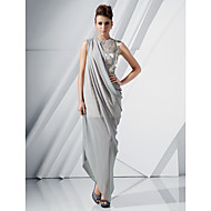 TS Couture Formal Evening Dress - Silver Plus Sizes / Petite Sheath/Column Jewel Floor-length / Asymmetrical Chiffon / Satin