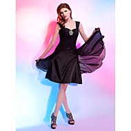 TS Couture Cocktail Party Dress - Black Plus Sizes / Petite A-line / Princess Straps / Sweetheart Knee-length Chiffon