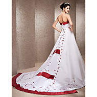 Lanting Bride A-line / Princess Petite / Plus Sizes Wedding Dress-Chapel Train Strapless Satin