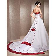 Lanting sposa a-line / principessa petite / taglie abito da sposa-cappella raso treno senza spalline