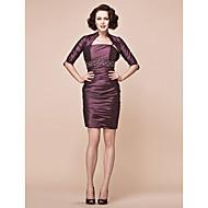 Sheath/Column Plus Sizes / Petite Mother of the Bride Dress - Grape Short/Mini Half Sleeve Taffeta