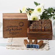 Wooden Handwritten Alphabet Stamp Set Favor