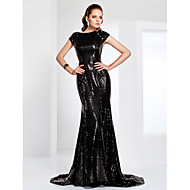TS Couture Formal Evening / Military Ball Dress - Black Plus Sizes / Petite Trumpet/Mermaid Bateau Sweep/Brush Train Sequined