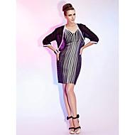 Cocktail Party/Wedding Party Dress Sheath/Column V-neck Short/Mini Stretch Satin/Tulle