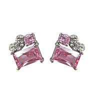 Fabulous Purple Platinum Plated With  Irregular Shape Cubic Zirconia Earrings