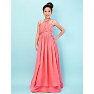 Lanting Bride® Gulvlang Chiffon / Sateng Junior brudepikekjole A-linje / Prinsesse Haltertopp / Spagettistropper medDrapering / Belte /