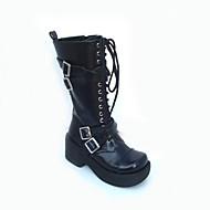 Black PU Leather 7.5cm Platform Punk Lolita Boots