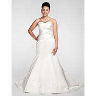 Lanting Trumpet/Mermaid Plus Sizes Wedding Dress - White Chapel Train Sweetheart Satin