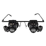 briller skriver 20x magnifier med hvitt LED lys
