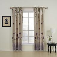 dva panely květinové botanické fialová ložnice polyester panelové záclony závěsy