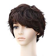 capless naturale aspetto ondulato a breve parrucca castana capelli umani
