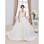 Lanting Bride Ball Gown Petite / Plus Sizes Wedding Dress-Chapel Train V-neck Organza