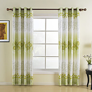 Green Leaf Rayon Window Curtains Drapes