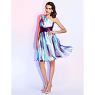 Homecoming Cocktail Party/Holiday/Homecoming Dress - Print Plus Sizes Sheath/Column One Shoulder Knee-length Chiffon