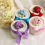 scatole favore rotonde con fiori e nastro - set da 12 (più colori)