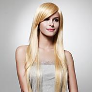 extra lange rechte licht blond haar pruik
