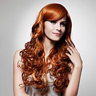 sin tapa extra de alta calidad a largo sintéticas pelucas de oro marrón pelo rizado 0988-J45 27-30