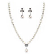 Ivory Pearl Two Piece Elegant Ladies Necklace and Earrings Jewelry Set (38 cm)