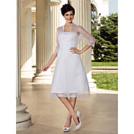 A-line/Princess Plus Sizes Wedding Dress - White Knee-length Strapless Organza