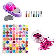 DIY Nail Art Verniz Cor Kit máquina de impressão e 72 Cores Nail Art Glitter