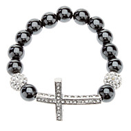 Cross Hematite pulsera de la bola Diamond