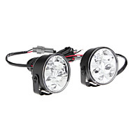 4-LED Ultra White Light Round Car Daytime Running Lamps (2-Pack)