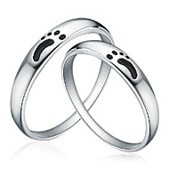 Charming 925 Sterling Silver with Footprint Couple's Rings