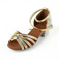 női műbőr / strasszos felső boka pánt latin / salsa táncbemutató cipő (több szín)