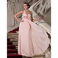 저녁 정장파티/프롬/밀리터리 볼 드레스 - 펄 핑크 시스/컬럼 바닥 길이 원 숄더/스위트하트 쉬폰 플러스 사이즈