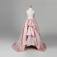 A-line / Ball Gown / Princess Floor-length / Court Train Flower Girl Dress - Taffeta Sleeveless Straps with Flower(s) / Ruching