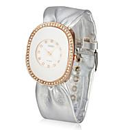 Women's Leather Quartz Movement Glass Round Shape Dress Watch