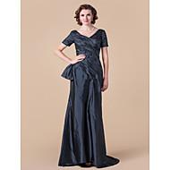 Lanting Bride® A-line Plus Size / Petite Mother of the Bride Dress Floor-length Short Sleeve Taffeta with Criss Cross