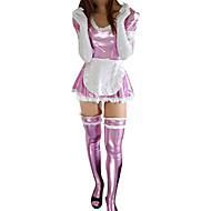 Pink Shiny Metallic Cotton spandex Sexy Ranskan Maid Dress