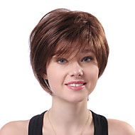 Capless Short Brown Wavy 100% Human Hair Wigs