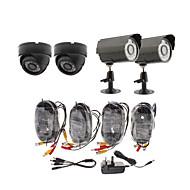 Día / Noche Cámara de Seguridad Paquete de 4 (2 cámaras a prueba de agua al aire libre y 2 cámaras para interiores)