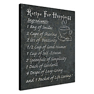 Stretched Canvas Art Words & Quotes Recipe for Happiness by NBL Studio Ready to Hang