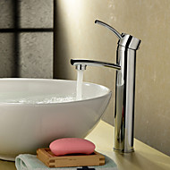 Chrome Finish Solid Brass Bathroom Sink Faucet (Tall)