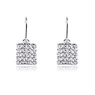 Wedding Korean Fashion Drill Square Drop Earrings