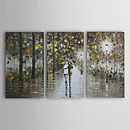 Hand-Painted Landscape / People Three Panels Canvas Oil Painting For Home Decoration