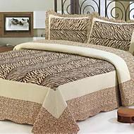 3-delt zebra mønster vaskes bomuld quilt sæt