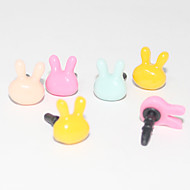 Cabeza adorable conejo 3,5 mm plástico anti-polvo para auriculares Jack para iPhone y iPad