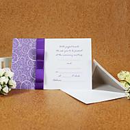 הזמנה אלגנטית סגנון חתונה עם סרט סגול (סט של 50)
